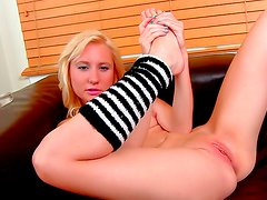Amazing blonde likes to play with feet