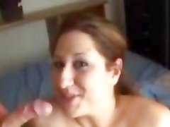 Filthy brunette gets her face plastered with warm cum
