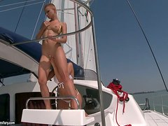 Hot Ass-Fucking Threesome With Two Chicks On A Yacht