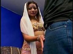 Freaky Indian chick Indra Verma sucking two brown dicks