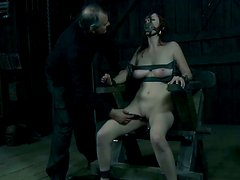 Holly Wildes is locked to the electric shock chair