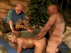 Black guy fucks her ass in front of hubby