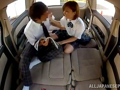 Teen School Girl Fucked in a Car Next to a Sleeping Guy