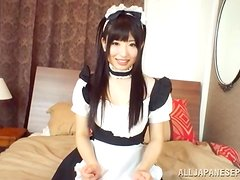 Arisa Nakano Asian Doll Giving a Blowjob in Cosplay