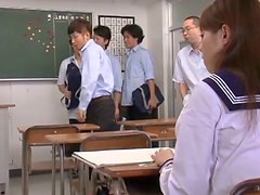 Japanese Teen School Girl Gets Bukkake in Oral Gangbang in Classroom