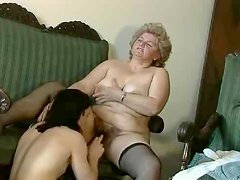 Disgusting scene with a hairy granny getting naughty