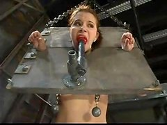 Sarah B can't make a move as she is tied up for a BDSM