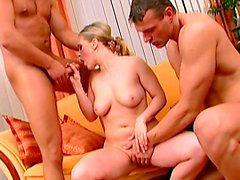 Spicy bleached doll loves to feel two dicks in her mouth
