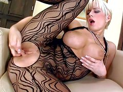 Turned on glamorous blonde bombshell Cindy Dollar with stunning firm