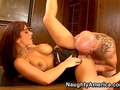 Arousing slutty brunette secretary Jayden James with big juicy hooters