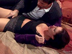 Arousing experienced brunette business woman Samantha Ryan with hot body