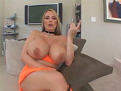Mega busty and bootylicious blonde milf Lisa Lipps sucking dick