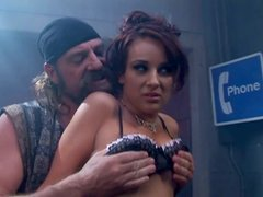 Red head wench Dani Woodward is fucking brutal biker in a bar