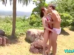 Busty Asian Girl In Bikini Getting Her Tits Rubbed Fingered Sucking Guy Outside In The Garden
