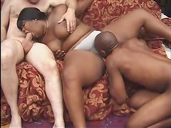 Fat black girl with belly rolls fucked in threesome
