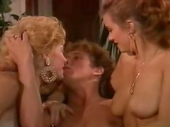 Two hot blonde milfs share a cock in amazing retro clip
