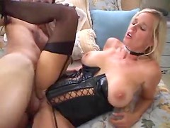 Blonde in wicked hot leather corset fucked