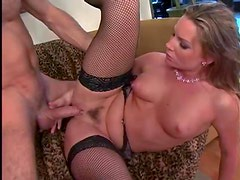 Flower Tucci in fishnets has anal sex