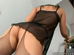 Two amazing girls have hot lesbian sex on the staircase