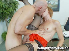 Slutty tempting and slender pale brunette secretary Dylan Ryan with