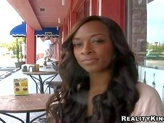 Adorable amateur black babe with long hair and smoking hot
