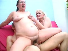 Plump and pale Juliana Elizabeth has a threesome with mature couple