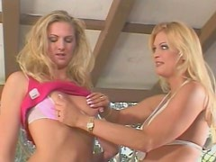Awesome blonde whore Ashley Long fucks one guy with her girlfriend