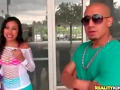 Latina in slutty outfit gets in the car