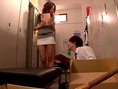 Kaori the slutty teacher gives a blowjob to her student