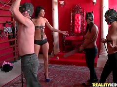 Dommes in training smack a guy around