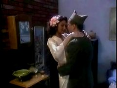 Soldier and his sexy lady in lingerie have oral sex