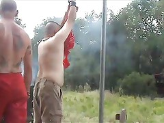 Army Daddy punishes Slave outside