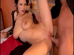 Super hot Euro girl with huge naturals in threesome
