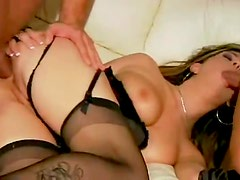 Hot chick does anal threesome in lingerie