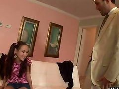 Watch as this sweet Asian babysitter Amai Liu giv