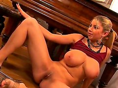 Busty and crazy babe named Snow spreads her legs and masturbates with her fingers