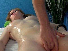Thirsting for cum spoiled pale nympho sucks the masseur's tool