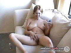 Geeky housewife with huge tits fingers hairy pussy