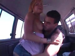 He strips tranny naked in car and gets blown