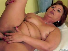 Caitlin is one dirty granny with always wet hairy pussy.