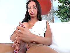 Horny tranny Sunshyne Monroe gives stunning solo session while attending to casting