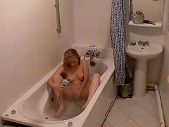 Bathroom hidden cam filming Erotic blonde pretty Marina jerking her cute beaver