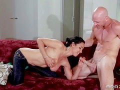 Aroused tight ass black haired milf Isis Lover with fake