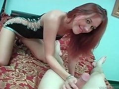 Dirty talking girl in tight dress strokes cock
