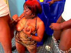 Arousing ebony receives long cocks in threesome