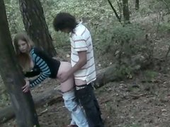 Whorish teen chick is screwed in forest