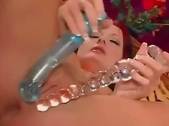 Double dildo fun with a hottie