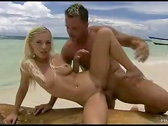 Anal sex on beach with cum on the face