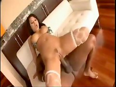 Eva Angelina in bikini top takes black cock