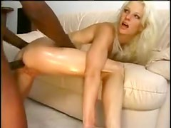 White milf dances for black guy before sex